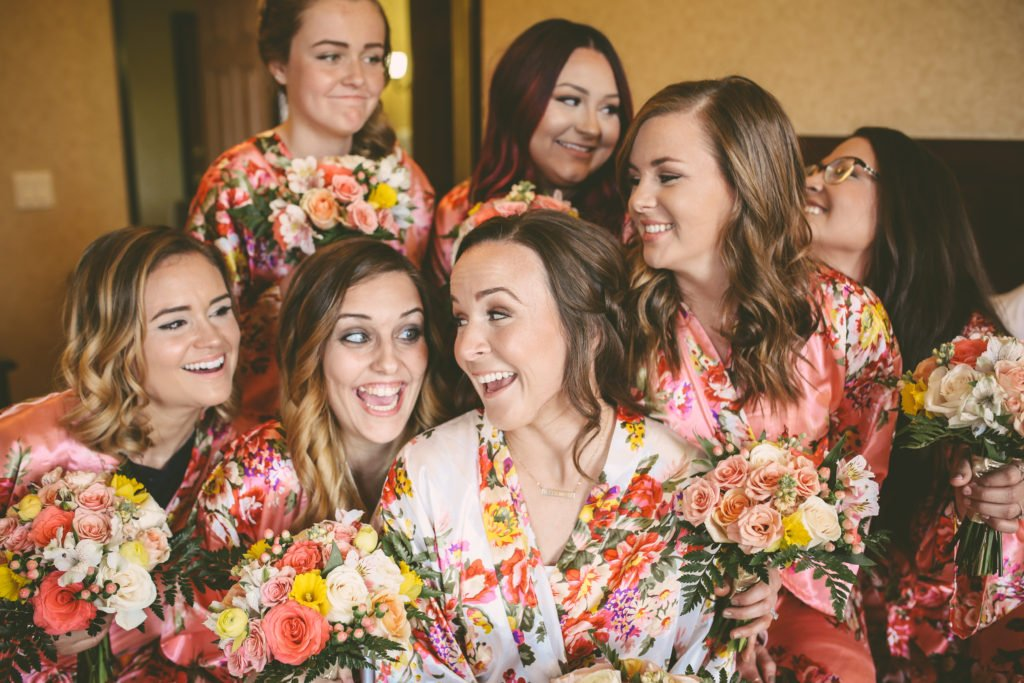 Bride and bridesmaids in Corona, Southern California