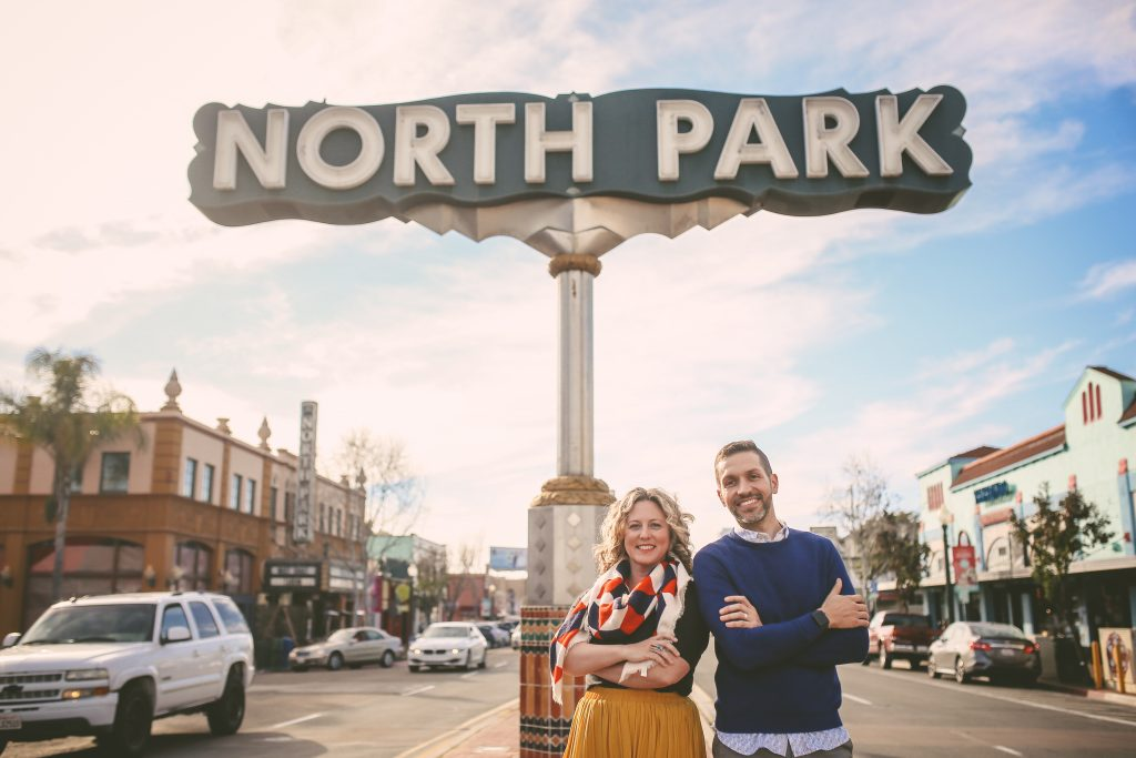 North park headshot session with North Park sign